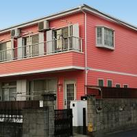 東京都足立区戸建住宅の外壁をピンクで仕上げた施工事例