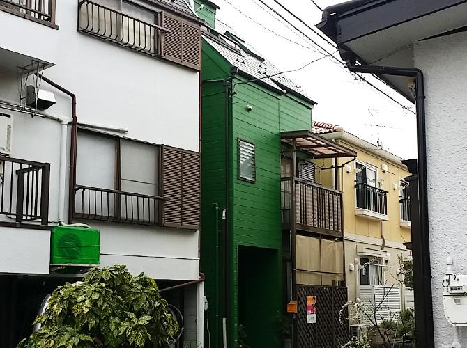 東京都足立区戸建住宅の外壁をグリーン系で仕上げた外壁塗装・屋根塗装工事の施工事例