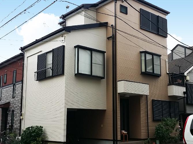 東京都足立区の外壁を2色で仕上げた外壁塗装・屋根塗装工事の施工事例